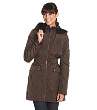 Laundry Zip-Front Cinch Waist Jacket with Faux Fur