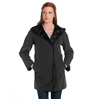 Hilary Radley® Hooded Storm Coat With Faux Fur