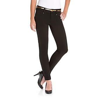 Sequin Hearts Juniors' Belted Skinny Pants
