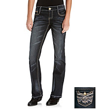 Wallflower Vintage® Juniors' Bling Flap Back Bootcut Jeans