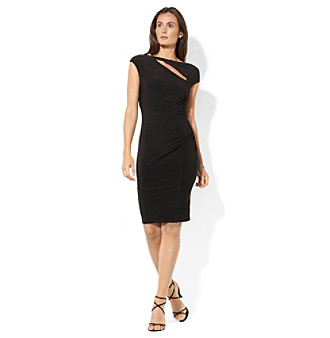 Lauren Ralph Lauren Asymmetric Keyhole Neck Sheath Dress