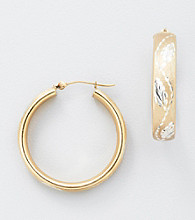 Auragento Leaf Design Hoop Pierced Earrings