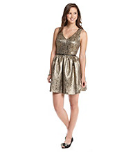 Kensie® Gold Brocade Dress