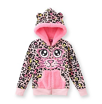 Belle du Jour Girls' 4-6X Pink Leopard Hooded Fleece