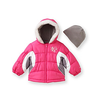 London Fog® Girls' 12M-4T Color Block Bubble Jacket
