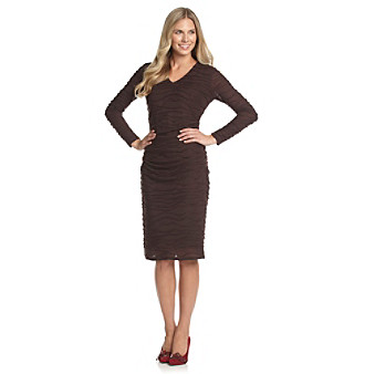 Anne Klein® V-Neck Ripple Jersey Dress