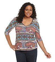 Oneworld® Plus Size Velvet-Trimmed V-Neck Top