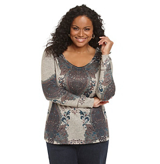 Oneworld® Plus Size Rounded V-Neck Top