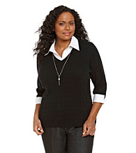 Notations® Plus Size Layered-Look Sweater