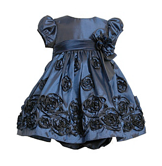 Bonnie Jean® Baby Girls' Dark Blue Rosette Border Dress
