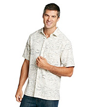 Paradise Collection® Men's Basic Cream Wave Printed Silk Shirt