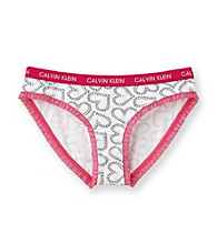 Calvin Klein Girls' 6-16 Silver Heart with Pink Trim Hipster Panties