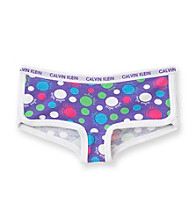 Calvin Klein Girls' 6-16 Purple Polka-Dot Boyshort Panties