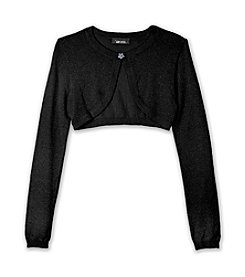 Amy Byer Girls' 7-16 Black Metallic Cardigan