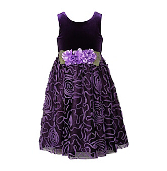 Sweet Heart Rose® Girls' 2T-6X Purple Velvet Dress with Ribbon Skirt
