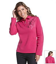 Breckenridge® Petites' Embroidered Fleece Top