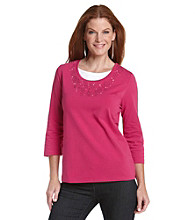 Breckenridge® Petites' Embroidered Layered-Look Top