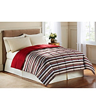 LivingQuarters Blue & Red Stripe Reversible Microfiber Down-Alternative Comforter