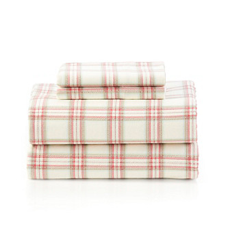 LivingQuarters Heavy-Weight Red Plaid Flannel Sheet Set