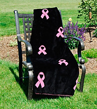Denali® Pink Ribbons and Black Microplush Throw