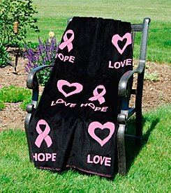 Denali® Love and Hope Black Microplush Throw