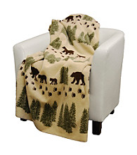 Denali® Pearl Denali Bear and Sage Microplush Throw