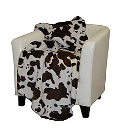 Denali® Brown and Taupe Cow Microplush Throw