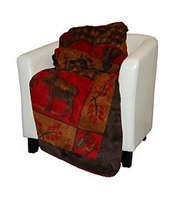 Denali® Moose and Bear Gold Check Microplush Throw