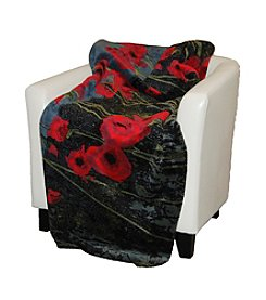 Denali® Poppies and Black Microplush Throw