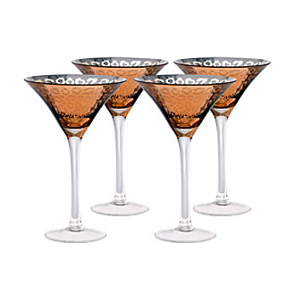 Artland® Leopard Gold Foil Set of 4 Martini Glasses