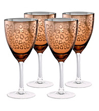 Artland® Leopard Gold Foil Set of 4 Wine Glasses