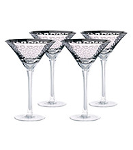 Artland®Leopard Silver Foil Set of 4 Martini Glasses