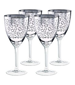 Artland® Leopard Silver Foil Set of 4 Wine Glasses