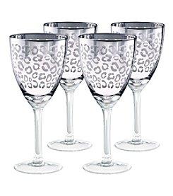 Artland® Leopard Silver Foil Set of 4 Wine Glasses