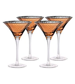 Artland® Zebra Gold Foil Set of 4 Martini Glasses