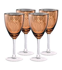 Artland® Zebra Gold Foil Set of 4 Wine Glasses