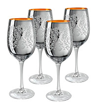 Artland® Brocade Silver Set of 4 Wine Glasses