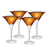 Artland® Brocade Gold Set of 4 Martini Glasses