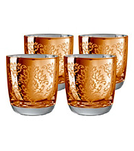 Artland® Brocade Gold Set of 4 Double Old Fashion Glasses