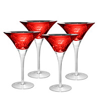 Artland® Brocade Red Set of 4 Martini Glasses