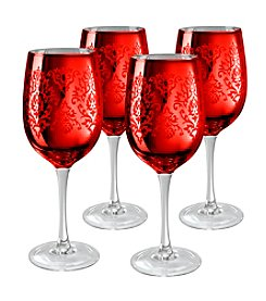Artland® Brocade Red Set of 4 Wine Glasses