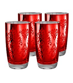 Artland® Brocade Red Set of 4 Highball Glasses