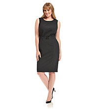 Calvin Klein Suits Plus Size Belted Sheath Dress