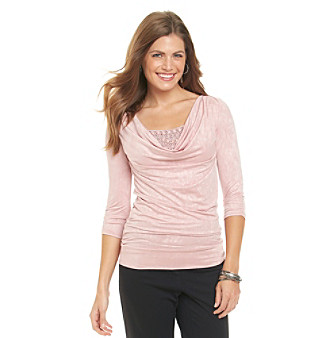 AGB® Petites' Drapeneck Beaded-Inset Top