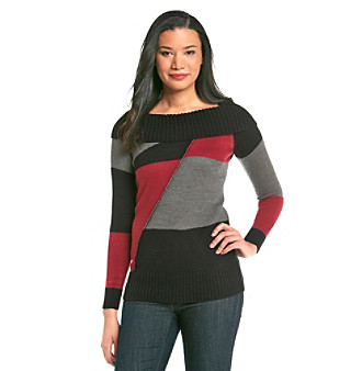 AGB® Colorblocked Cowlneck Tunic Sweater