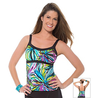 "Caribbean Joe® ""Fireworks"" Framed Swim Top"