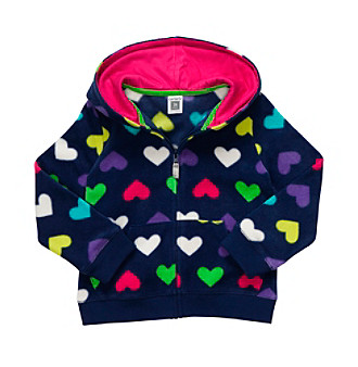 Carter's® Girls' 4-6X Navy Heart Print Microfleece Hoodie
