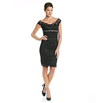 Marina Black Lace Dress with Jewel Embellishment