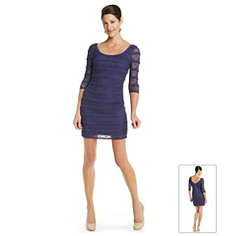 Guess Ruffle Stripe Lace Sheath Dress