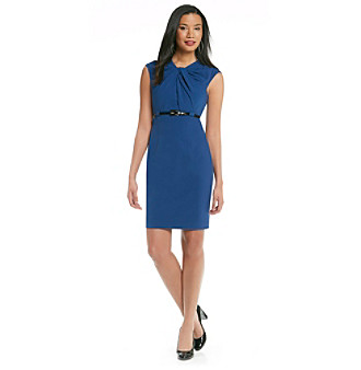 Calvin Klein Knot Front Belted Sheath Dress